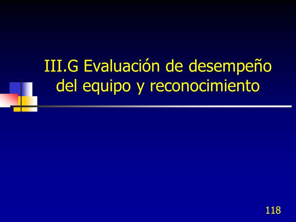 118 III.G Evaluación de desempeño del equipo y reconocimiento