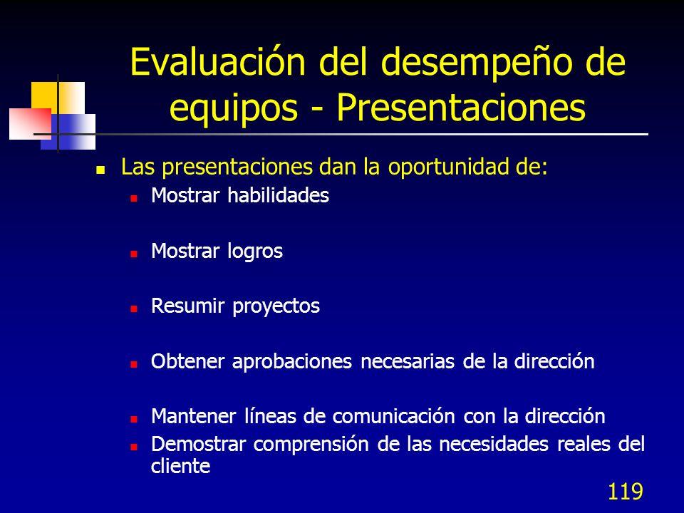 119 Evaluación del desempeño de equipos - Presentaciones Las presentaciones dan la oportunidad de: Mostrar habilidades Mostrar logros Resumir proyecto