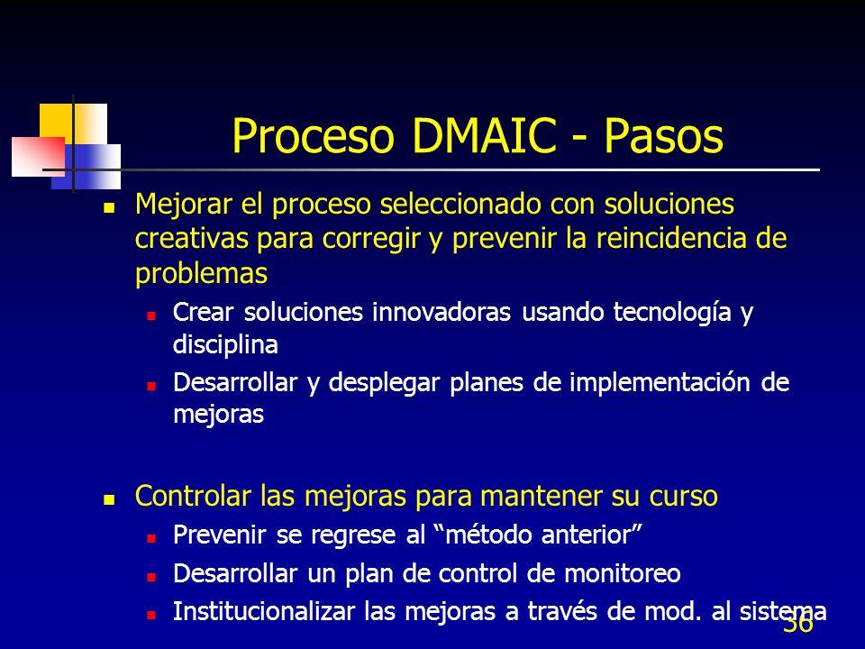 36 Proceso DMAIC - Pasos Mejorar el proceso seleccionado con soluciones creativas para corregir y prevenir la reincidencia de problemas Crear solucion
