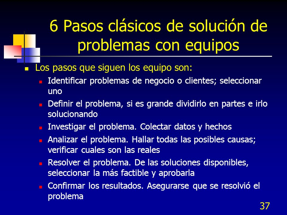 37 6 Pasos clásicos de solución de problemas con equipos Los pasos que siguen los equipo son: Identificar problemas de negocio o clientes; seleccionar