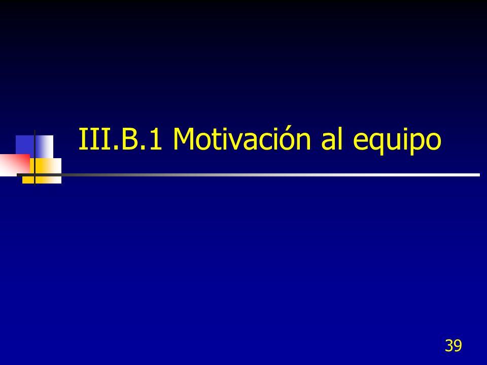 39 III.B.1 Motivación al equipo
