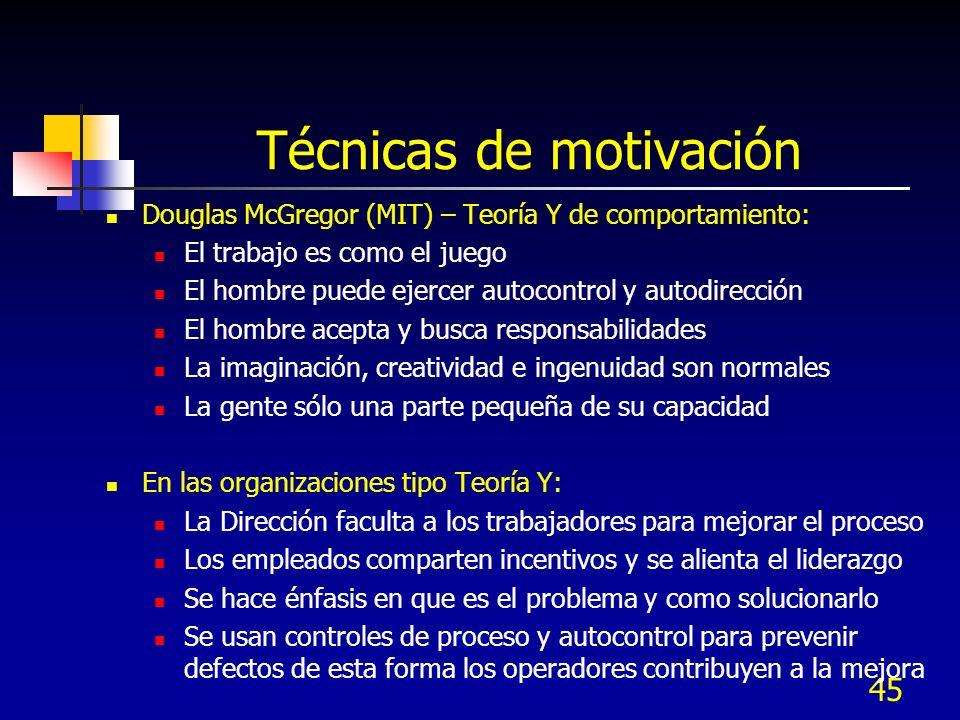45 Técnicas de motivación Douglas McGregor (MIT) – Teoría Y de comportamiento: El trabajo es como el juego El hombre puede ejercer autocontrol y autod