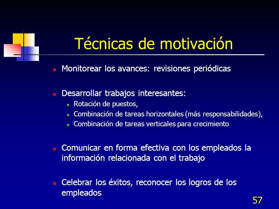 57 Técnicas de motivación Monitorear los avances: revisiones periódicas Desarrollar trabajos interesantes: Rotación de puestos, Combinación de tareas