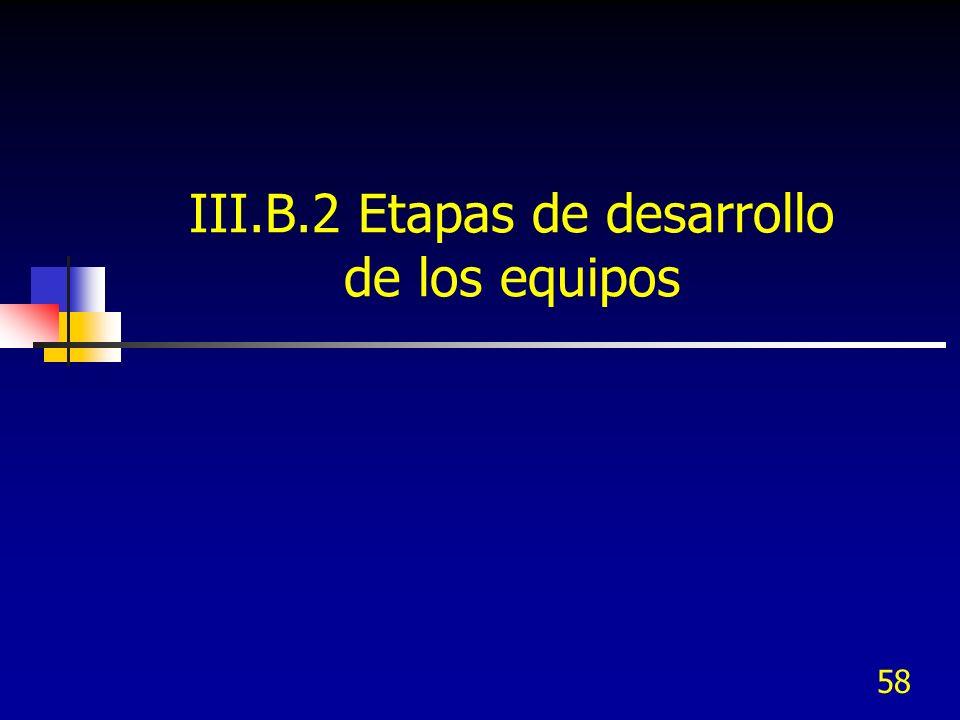 58 III.B.2 Etapas de desarrollo de los equipos