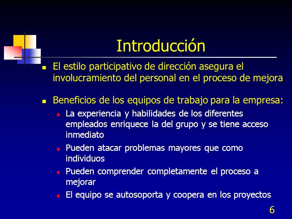 6 Introducción El estilo participativo de dirección asegura el involucramiento del personal en el proceso de mejora Beneficios de los equipos de traba