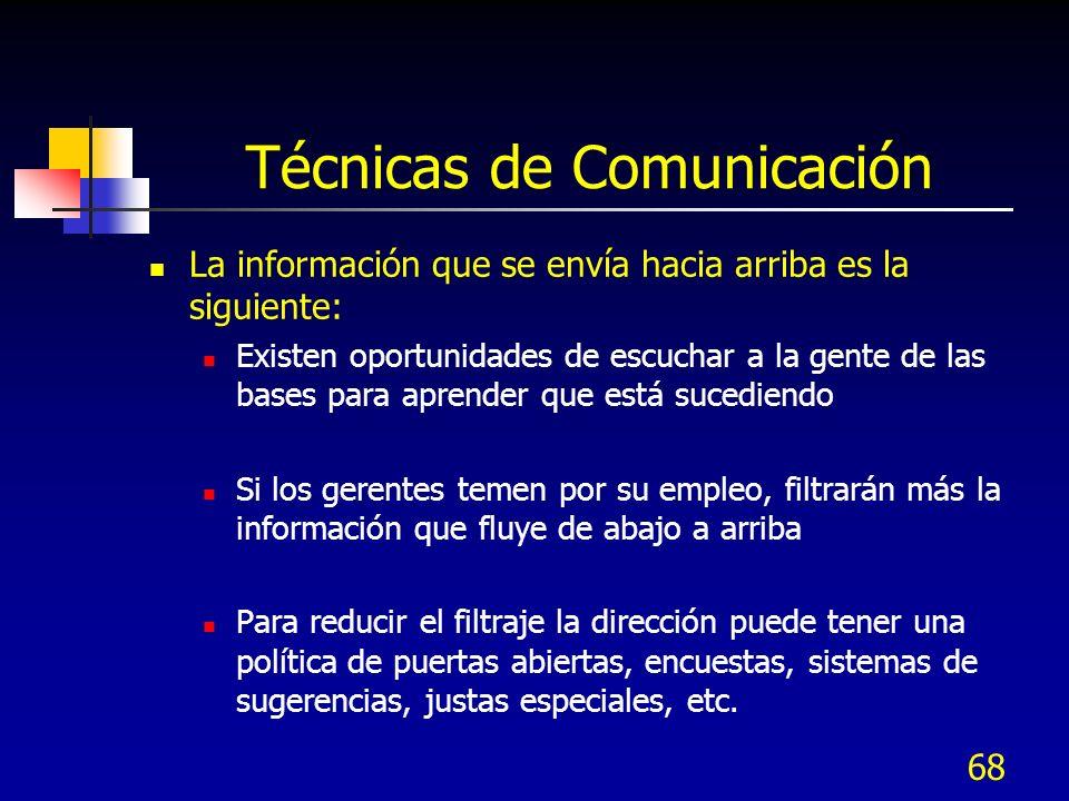 68 Técnicas de Comunicación La información que se envía hacia arriba es la siguiente: Existen oportunidades de escuchar a la gente de las bases para a