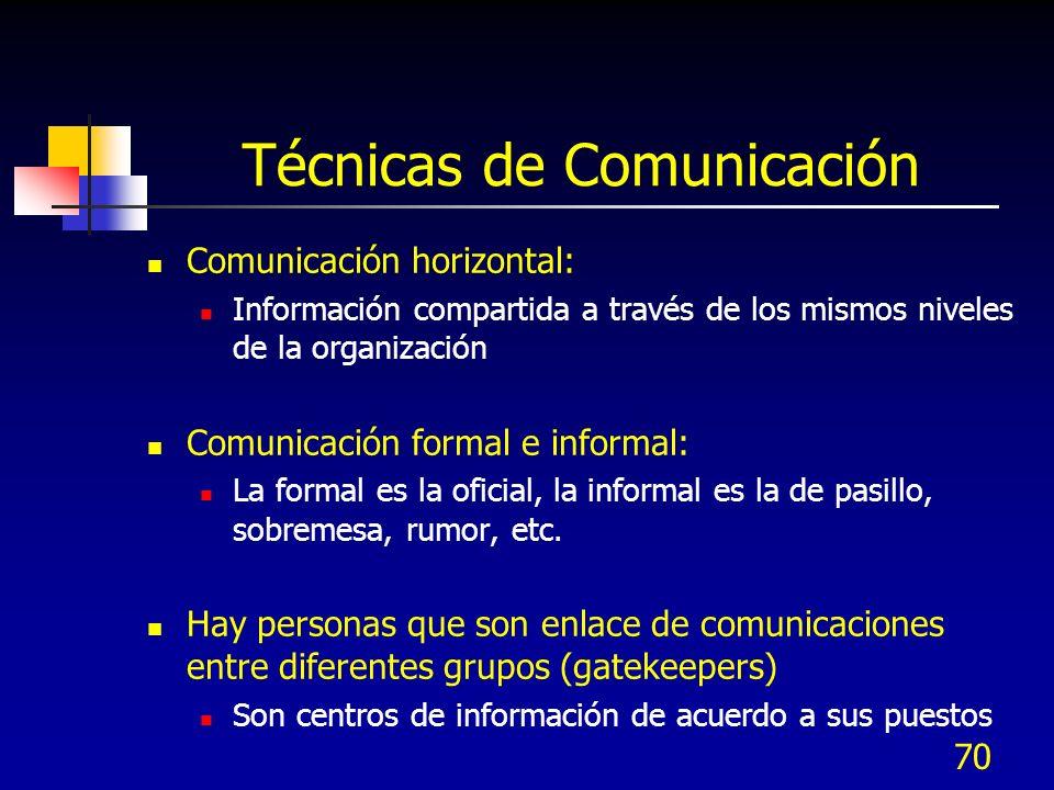 70 Técnicas de Comunicación Comunicación horizontal: Información compartida a través de los mismos niveles de la organización Comunicación formal e in