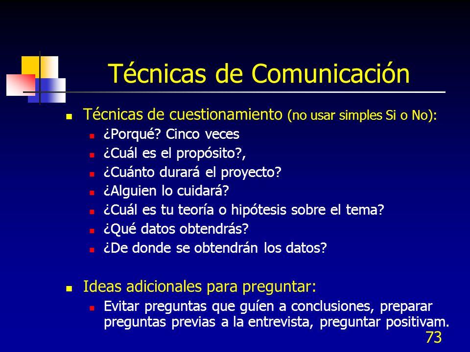 73 Técnicas de Comunicación Técnicas de cuestionamiento (no usar simples Si o No): ¿Porqué? Cinco veces ¿Cuál es el propósito?, ¿Cuánto durará el proy