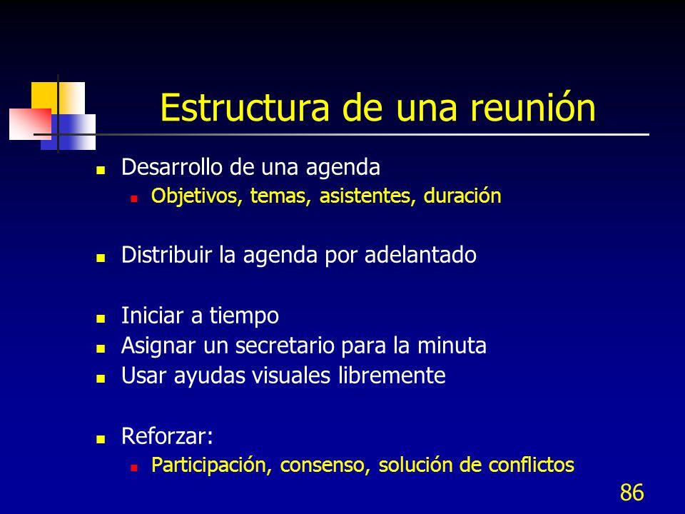 86 Estructura de una reunión Desarrollo de una agenda Objetivos, temas, asistentes, duración Distribuir la agenda por adelantado Iniciar a tiempo Asig