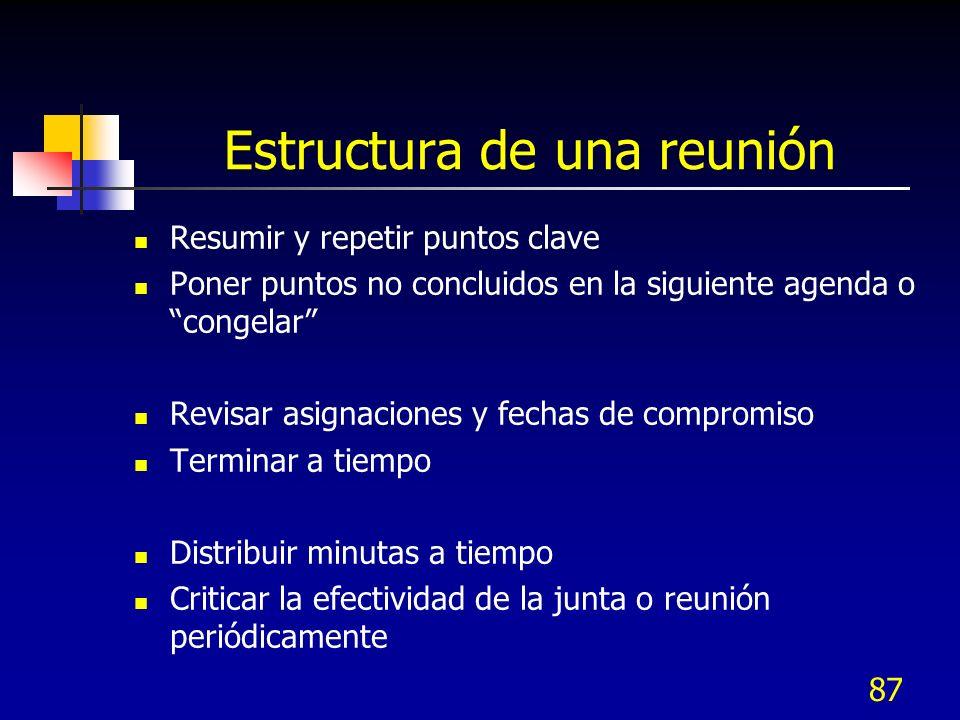 87 Estructura de una reunión Resumir y repetir puntos clave Poner puntos no concluidos en la siguiente agenda o congelar Revisar asignaciones y fechas