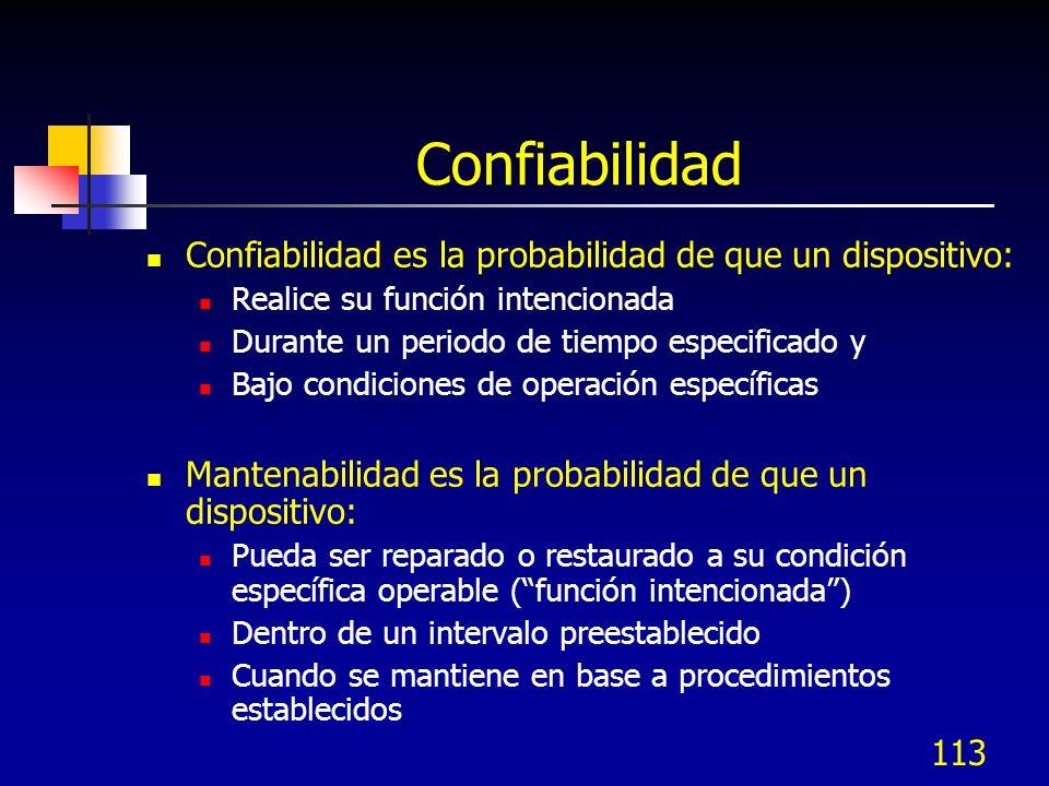 113 Confiabilidad Confiabilidad es la probabilidad de que un dispositivo: Realice su función intencionada Durante un periodo de tiempo especificado y