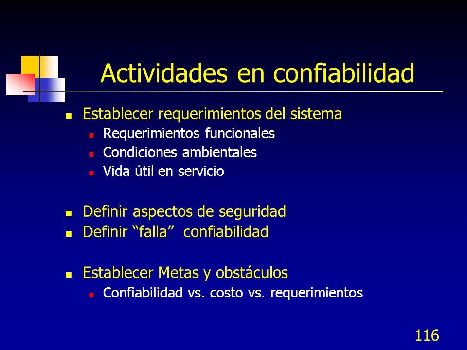 116 Actividades en confiabilidad Establecer requerimientos del sistema Requerimientos funcionales Condiciones ambientales Vida útil en servicio Defini