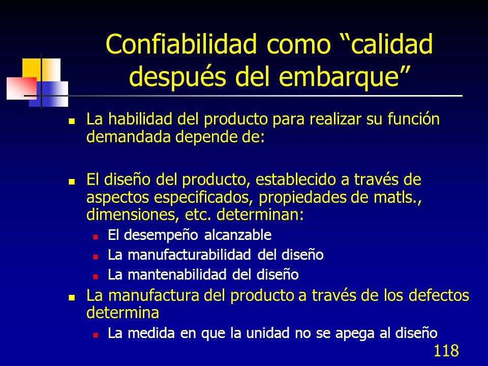 118 Confiabilidad como calidad después del embarque La habilidad del producto para realizar su función demandada depende de: El diseño del producto, e