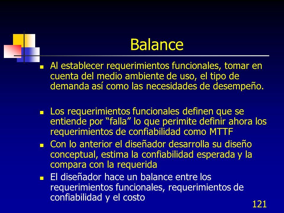 121 Balance Al establecer requerimientos funcionales, tomar en cuenta del medio ambiente de uso, el tipo de demanda así como las necesidades de desemp