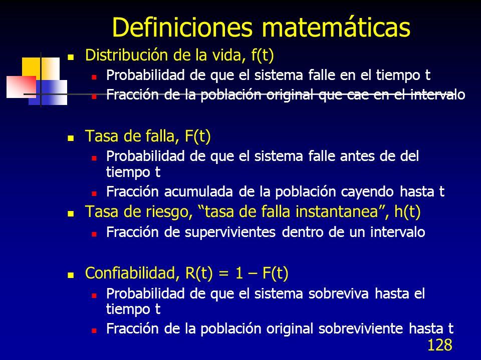 128 Definiciones matemáticas Distribución de la vida, f(t) Probabilidad de que el sistema falle en el tiempo t Fracción de la población original que c