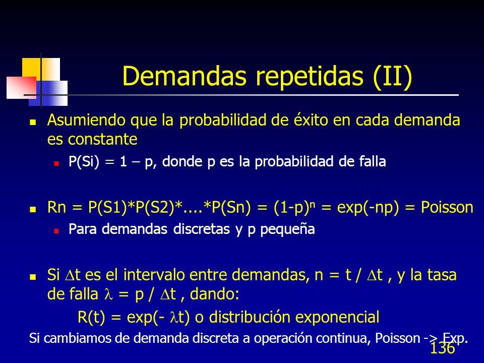 136 Demandas repetidas (II) Asumiendo que la probabilidad de éxito en cada demanda es constante P(Si) = 1 – p, donde p es la probabilidad de falla Rn