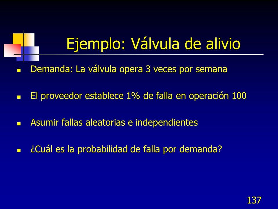 137 Ejemplo: Válvula de alivio Demanda: La válvula opera 3 veces por semana El proveedor establece 1% de falla en operación 100 Asumir fallas aleatori