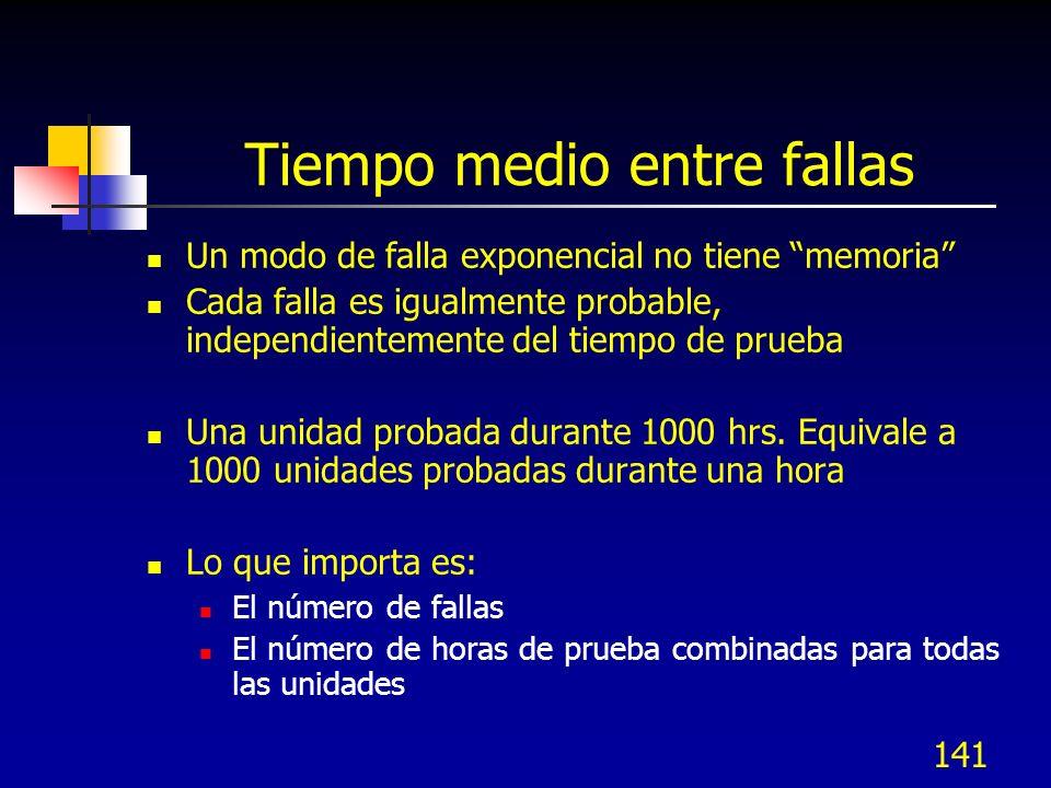 141 Tiempo medio entre fallas Un modo de falla exponencial no tiene memoria Cada falla es igualmente probable, independientemente del tiempo de prueba