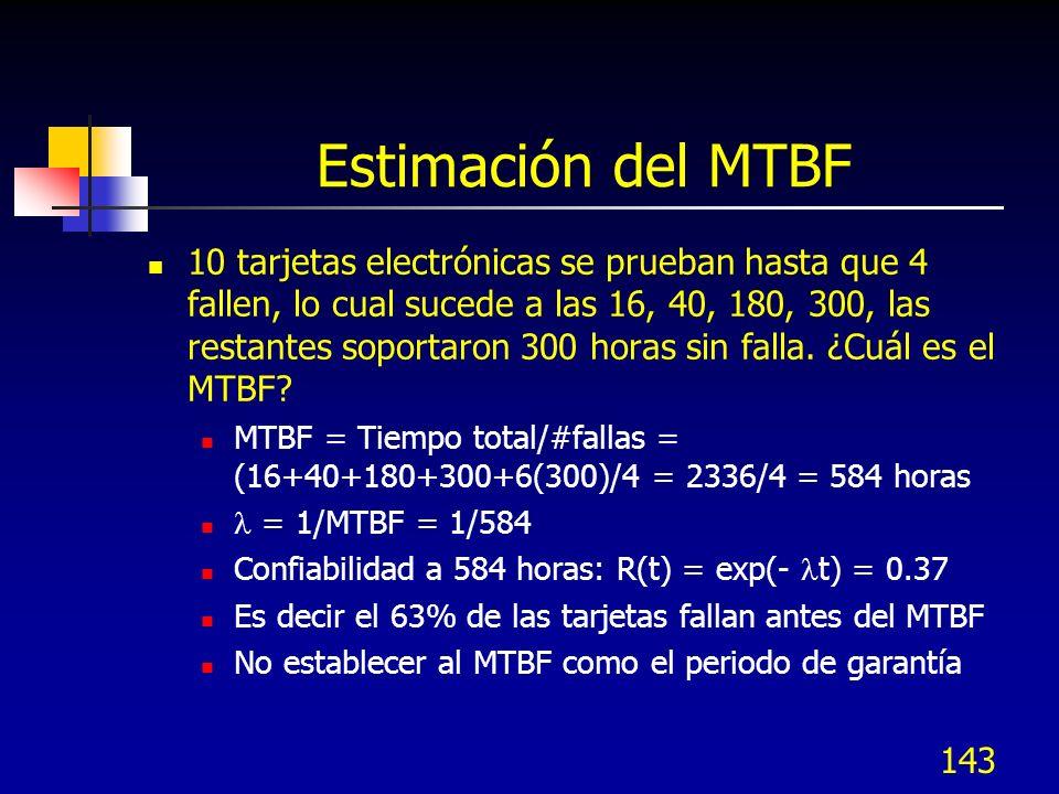 143 Estimación del MTBF 10 tarjetas electrónicas se prueban hasta que 4 fallen, lo cual sucede a las 16, 40, 180, 300, las restantes soportaron 300 ho