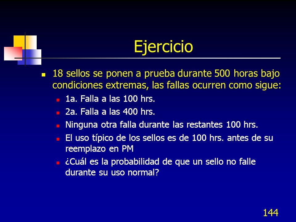 144 Ejercicio 18 sellos se ponen a prueba durante 500 horas bajo condiciones extremas, las fallas ocurren como sigue: 1a. Falla a las 100 hrs. 2a. Fal