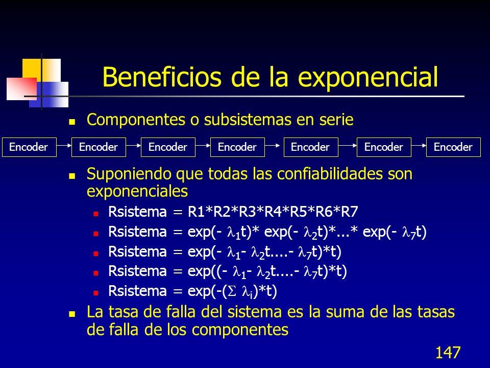 147 Beneficios de la exponencial Componentes o subsistemas en serie Suponiendo que todas las confiabilidades son exponenciales Rsistema = R1*R2*R3*R4*