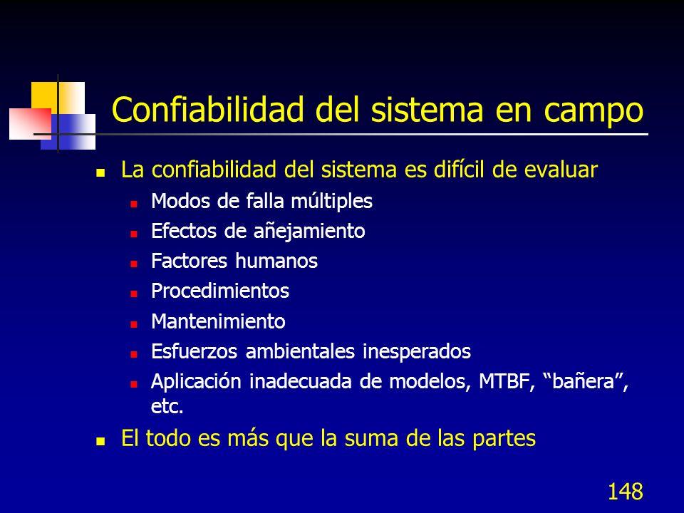 148 Confiabilidad del sistema en campo La confiabilidad del sistema es difícil de evaluar Modos de falla múltiples Efectos de añejamiento Factores hum