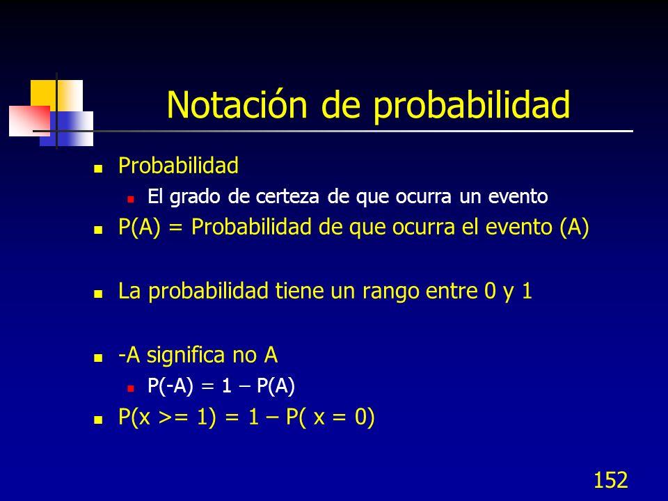 152 Notación de probabilidad Probabilidad El grado de certeza de que ocurra un evento P(A) = Probabilidad de que ocurra el evento (A) La probabilidad