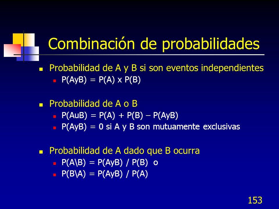 153 Combinación de probabilidades Probabilidad de A y B si son eventos independientes P(AyB) = P(A) x P(B) Probabilidad de A o B P(AuB) = P(A) + P(B)
