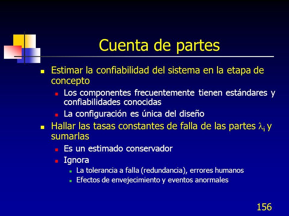 156 Cuenta de partes Estimar la confiabilidad del sistema en la etapa de concepto Los componentes frecuentemente tienen estándares y confiabilidades c
