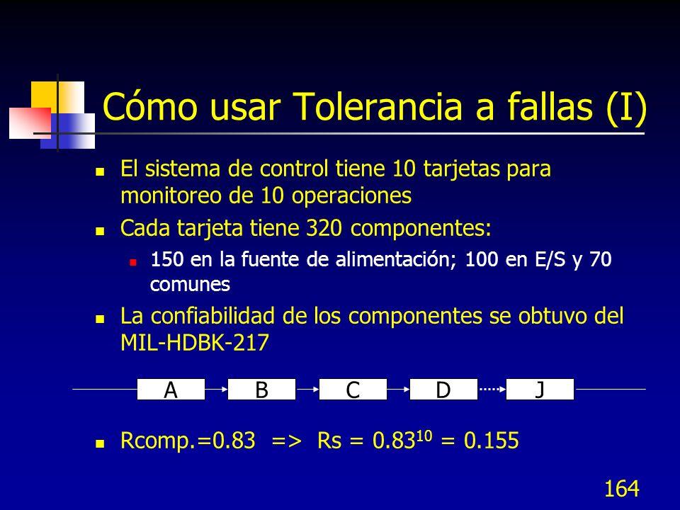 164 Cómo usar Tolerancia a fallas (I) El sistema de control tiene 10 tarjetas para monitoreo de 10 operaciones Cada tarjeta tiene 320 componentes: 150
