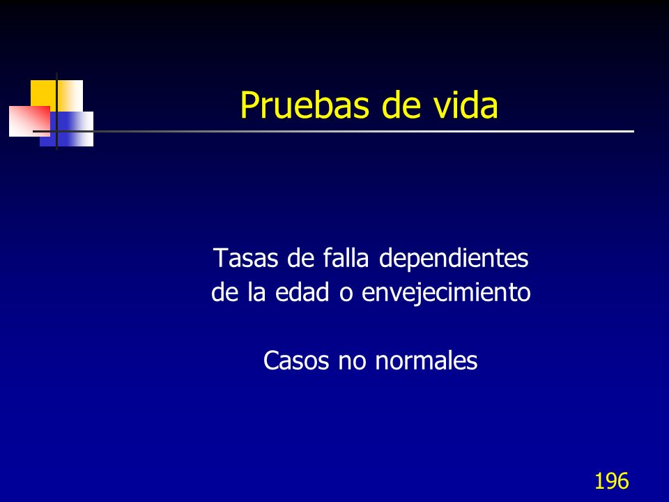 196 Pruebas de vida Tasas de falla dependientes de la edad o envejecimiento Casos no normales