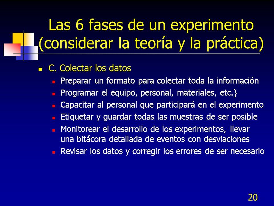 20 Las 6 fases de un experimento (considerar la teoría y la práctica) C. Colectar los datos Preparar un formato para colectar toda la información Prog