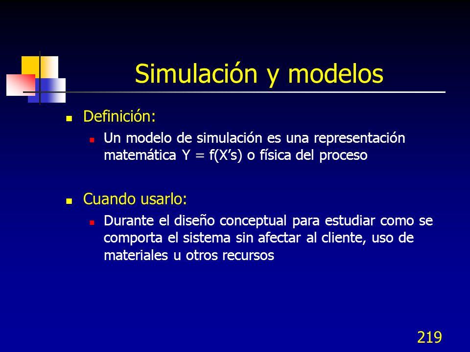 219 Simulación y modelos Definición: Un modelo de simulación es una representación matemática Y = f(Xs) o física del proceso Cuando usarlo: Durante el