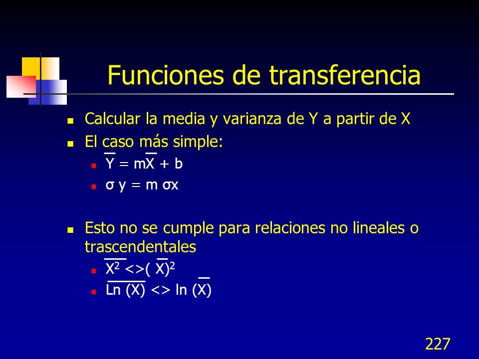 227 Funciones de transferencia Calcular la media y varianza de Y a partir de X El caso más simple: Y = mX + b σ y = m σx Esto no se cumple para relaci