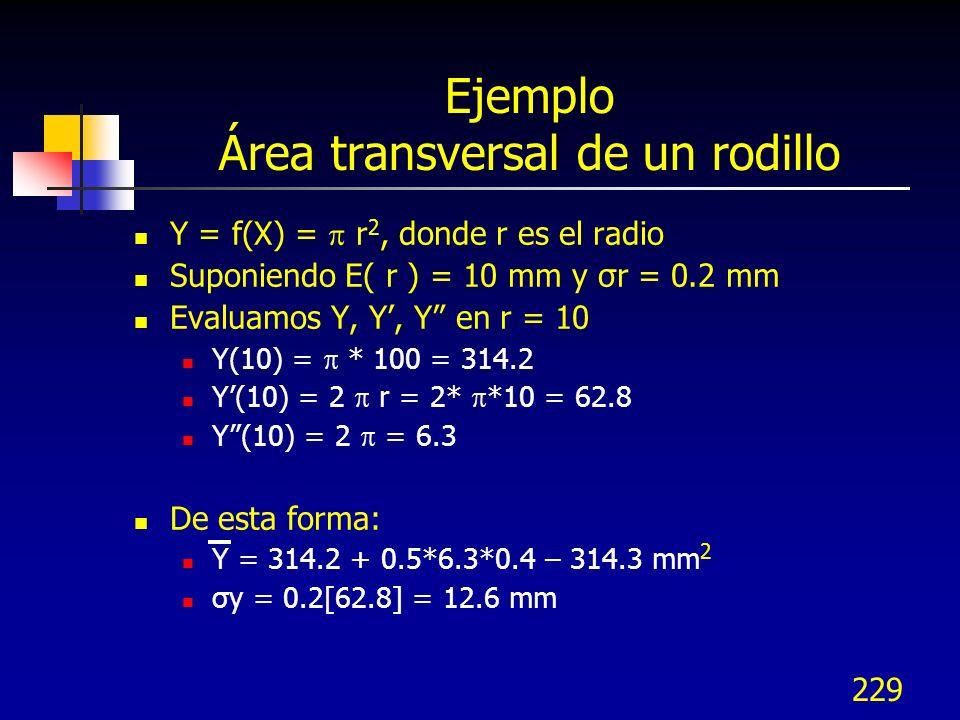 229 Ejemplo Área transversal de un rodillo Y = f(X) = r 2, donde r es el radio Suponiendo E( r ) = 10 mm y σr = 0.2 mm Evaluamos Y, Y, Y en r = 10 Y(1