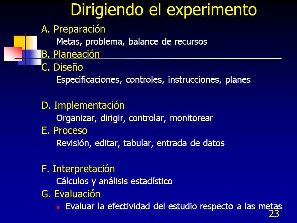 23 Dirigiendo el experimento A. Preparación Metas, problema, balance de recursos B. Planeación C. Diseño Especificaciones, controles, instrucciones, p
