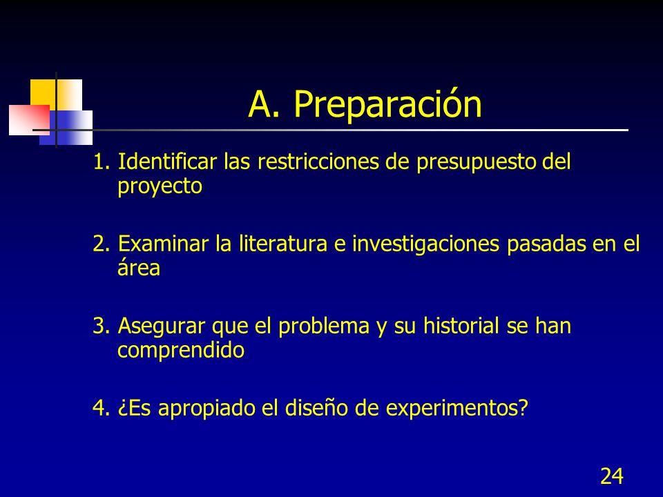 24 A. Preparación 1. Identificar las restricciones de presupuesto del proyecto 2. Examinar la literatura e investigaciones pasadas en el área 3. Asegu