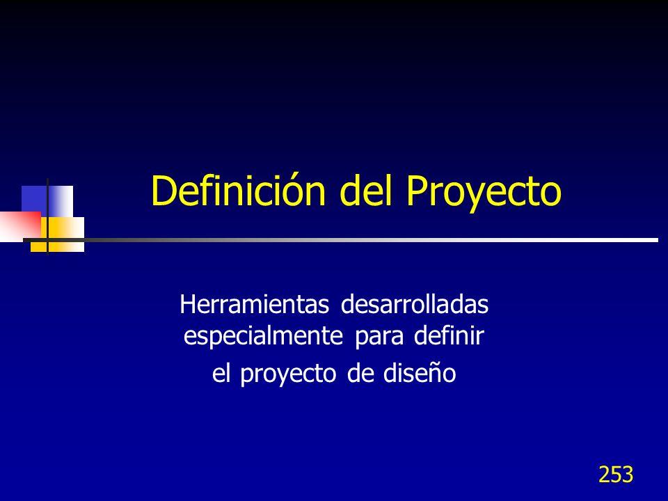 253 Definición del Proyecto Herramientas desarrolladas especialmente para definir el proyecto de diseño