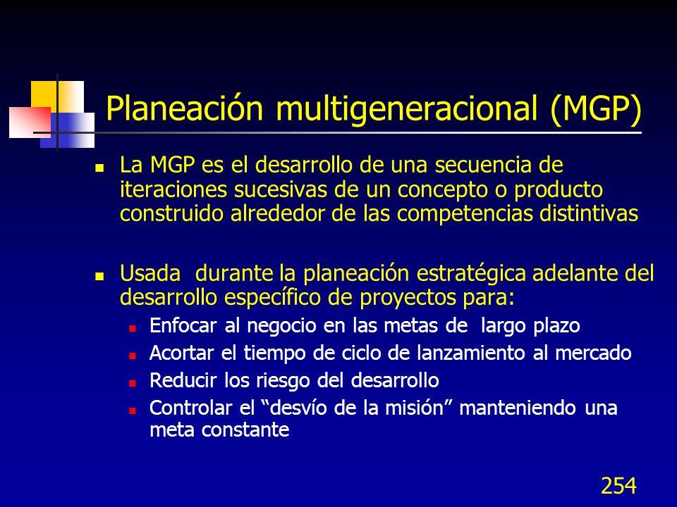 254 Planeación multigeneracional (MGP) La MGP es el desarrollo de una secuencia de iteraciones sucesivas de un concepto o producto construido alrededo