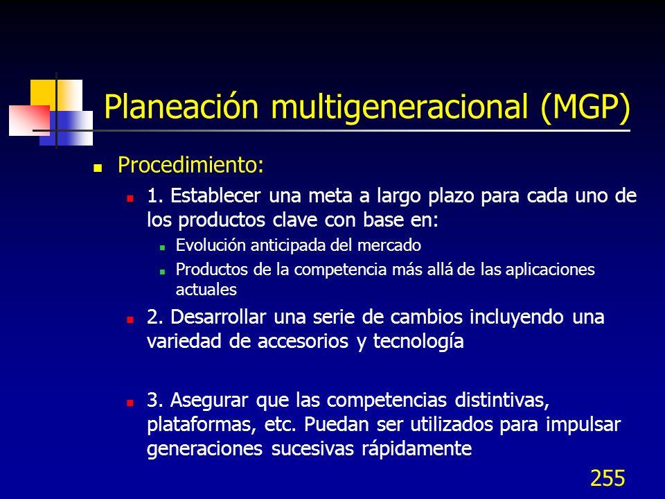 255 Planeación multigeneracional (MGP) Procedimiento: 1. Establecer una meta a largo plazo para cada uno de los productos clave con base en: Evolución