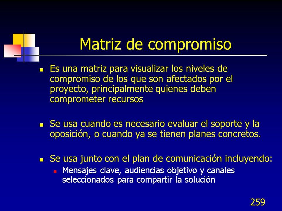 259 Matriz de compromiso Es una matriz para visualizar los niveles de compromiso de los que son afectados por el proyecto, principalmente quienes debe