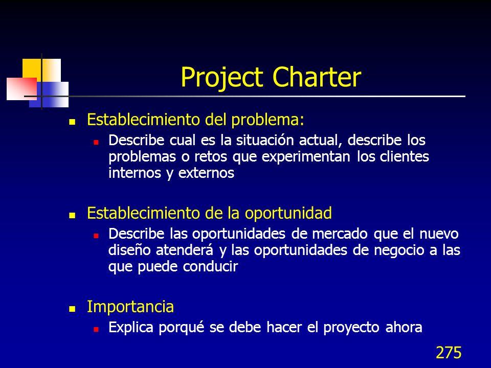 275 Project Charter Establecimiento del problema: Describe cual es la situación actual, describe los problemas o retos que experimentan los clientes i