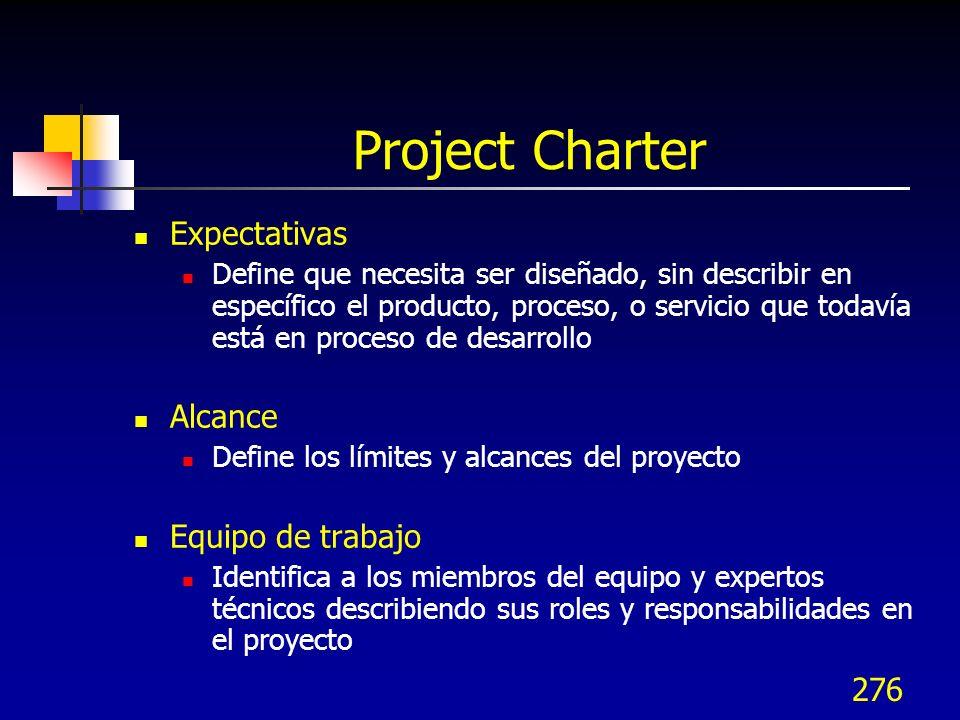 276 Project Charter Expectativas Define que necesita ser diseñado, sin describir en específico el producto, proceso, o servicio que todavía está en pr