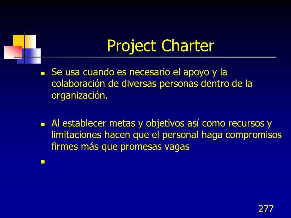 277 Project Charter Se usa cuando es necesario el apoyo y la colaboración de diversas personas dentro de la organización. Al establecer metas y objeti
