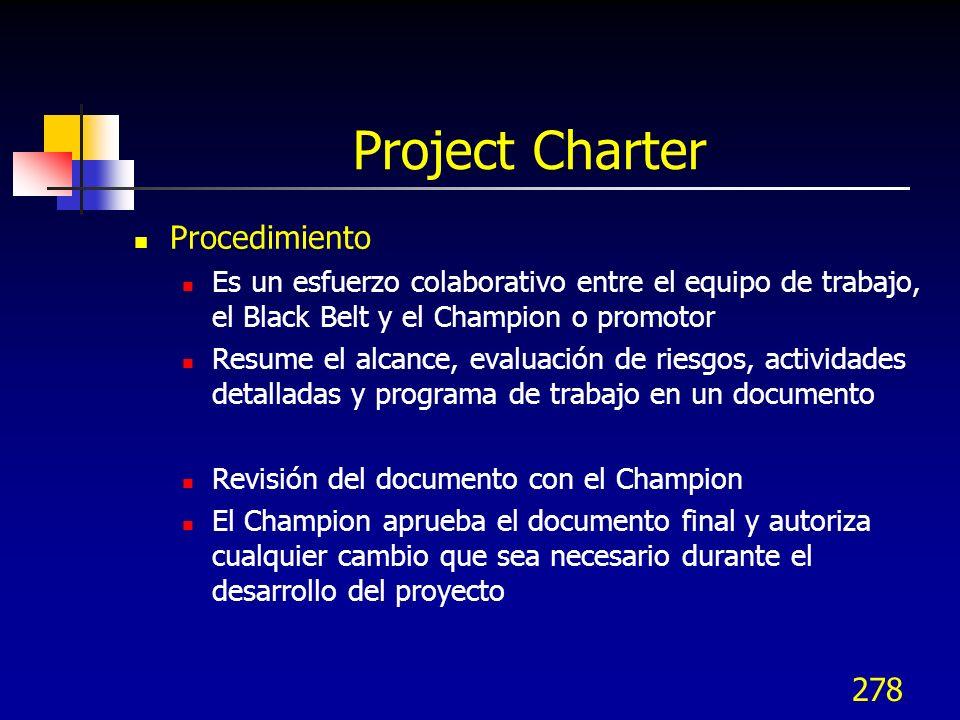 278 Project Charter Procedimiento Es un esfuerzo colaborativo entre el equipo de trabajo, el Black Belt y el Champion o promotor Resume el alcance, ev