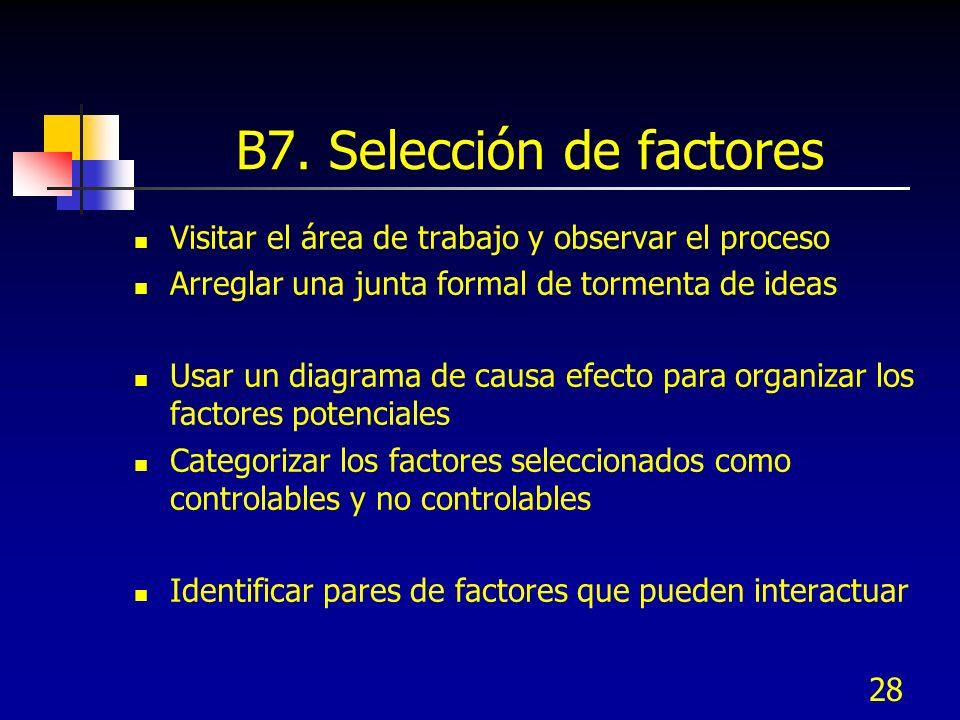28 B7. Selección de factores Visitar el área de trabajo y observar el proceso Arreglar una junta formal de tormenta de ideas Usar un diagrama de causa