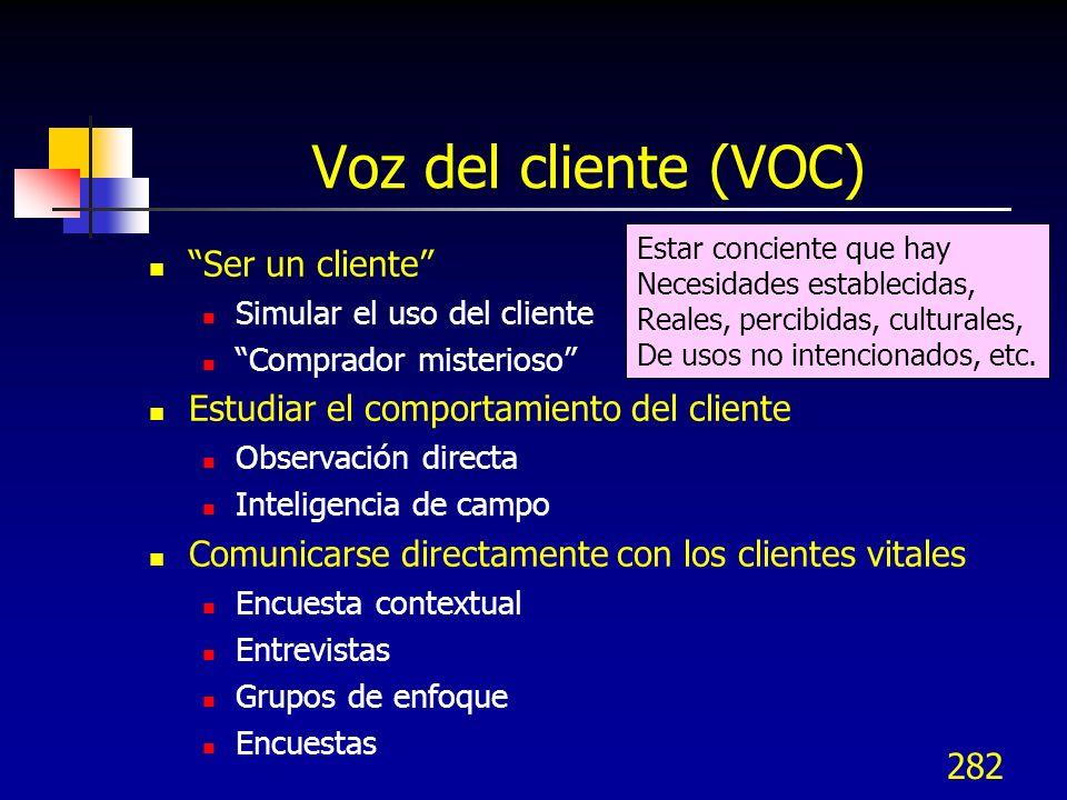 282 Voz del cliente (VOC) Ser un cliente Simular el uso del cliente Comprador misterioso Estudiar el comportamiento del cliente Observación directa In