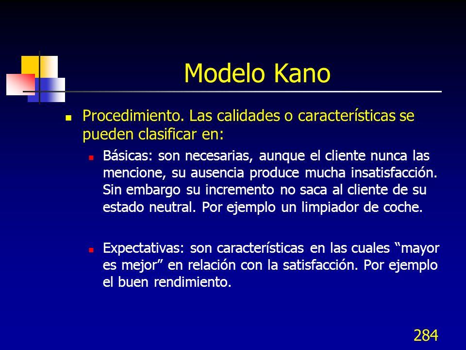 284 Modelo Kano Procedimiento. Las calidades o características se pueden clasificar en: Básicas: son necesarias, aunque el cliente nunca las mencione,