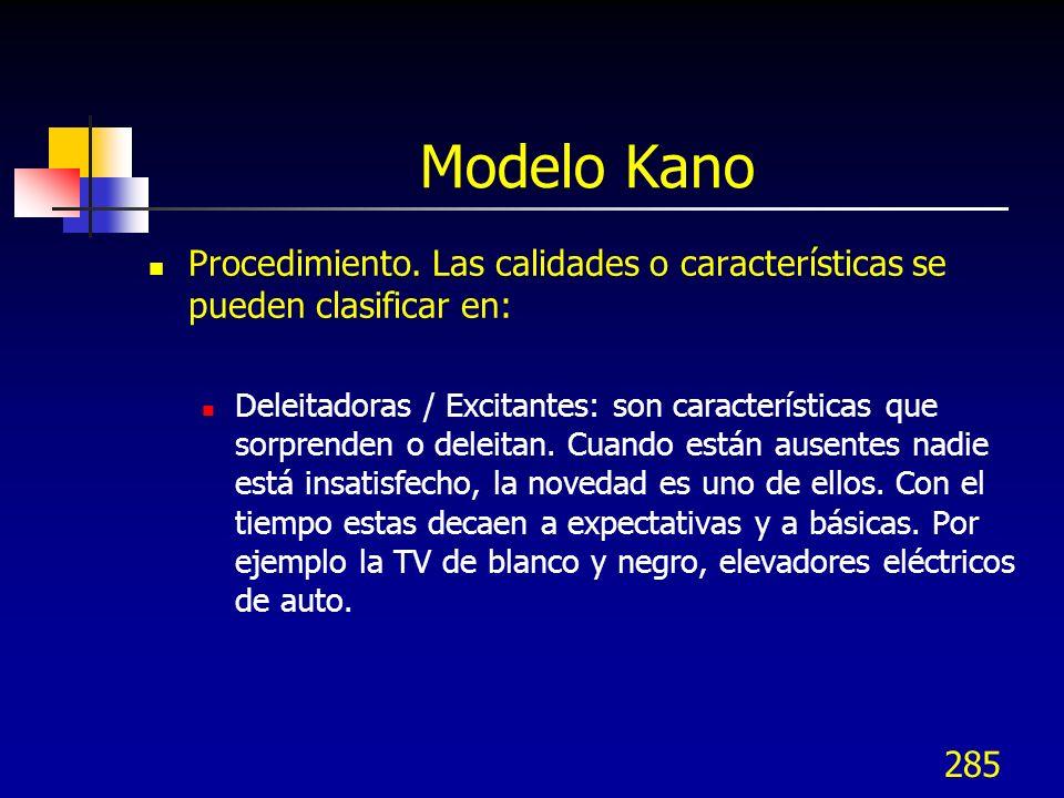 285 Modelo Kano Procedimiento. Las calidades o características se pueden clasificar en: Deleitadoras / Excitantes: son características que sorprenden