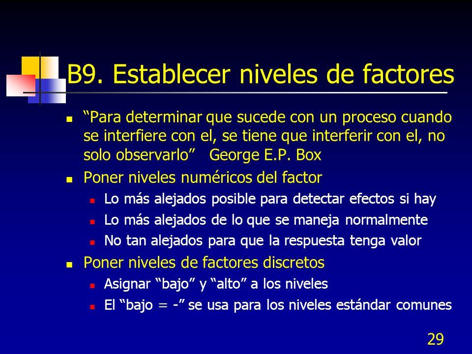 29 B9. Establecer niveles de factores Para determinar que sucede con un proceso cuando se interfiere con el, se tiene que interferir con el, no solo o